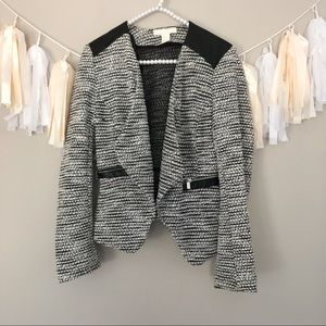 H&M Marled Grey Blazer Faux Leather Exposed Zipper